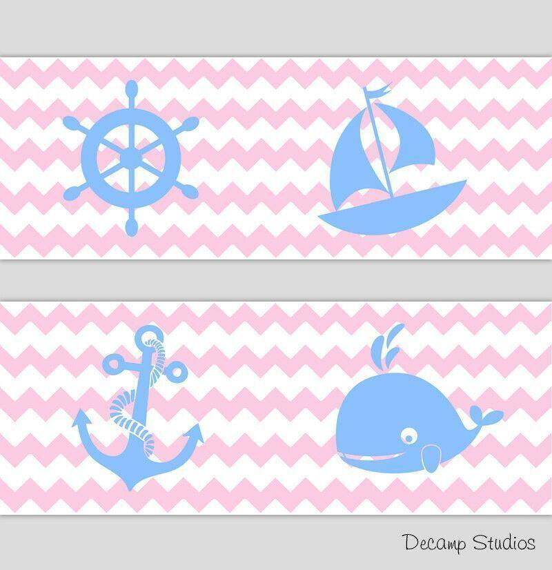 Nautical Sailboat Girl Nursery Pink Chevron Wallpaper Border Wall