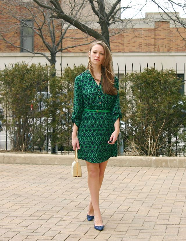 A Green Printed Shirt Dress for Spring http://stylebyjoules.com/?p=1142