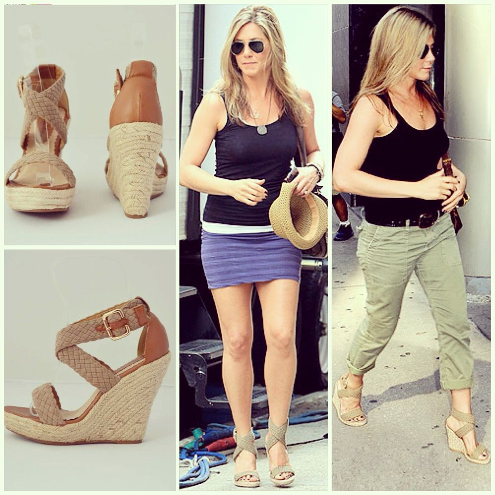2b2ab9331 Jennifer Aniston loves her Stuart Weitzman wedges and wears them a lot! Get  the LOOK FOR LESS and get our version for  34  style  celebrity   JenniferAniston ...