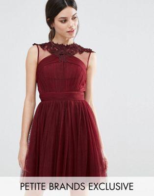654986c3f8b Little Mistress Petite Floral Lace Applique Mini Skater Dress With Mesh  Detail