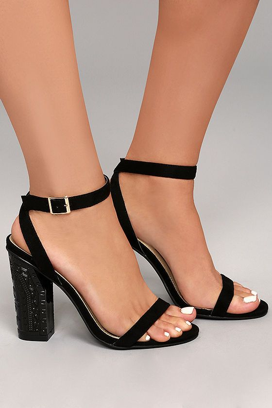 31a80cc310c The Mira Black Suede Ankle Strap Heels are a chic update to the classic ankle  strap