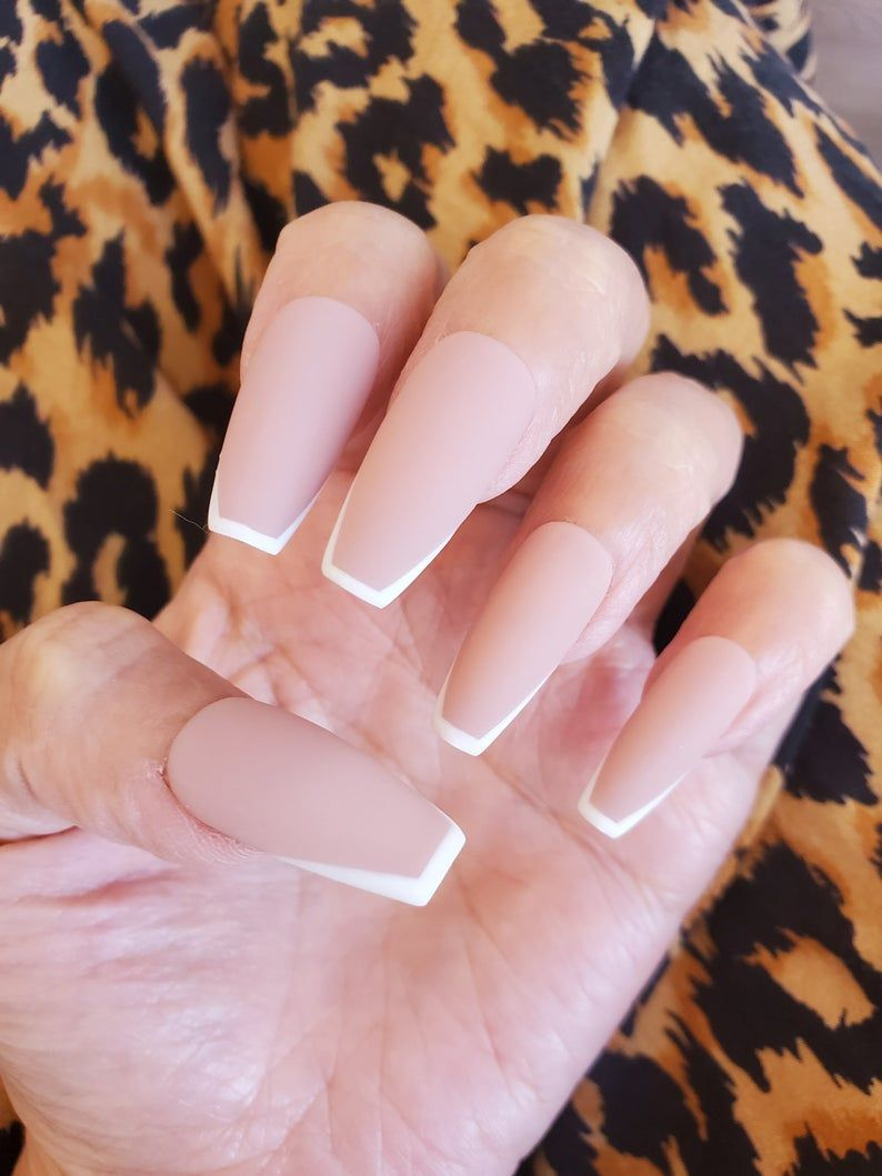 Nude Matte french Press On Nails, Fake Nails, Glue