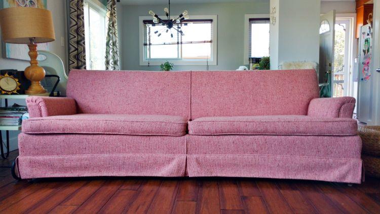 Take Off That Skirt Sofa Makeover Skirted Sofa Furniture Makeover