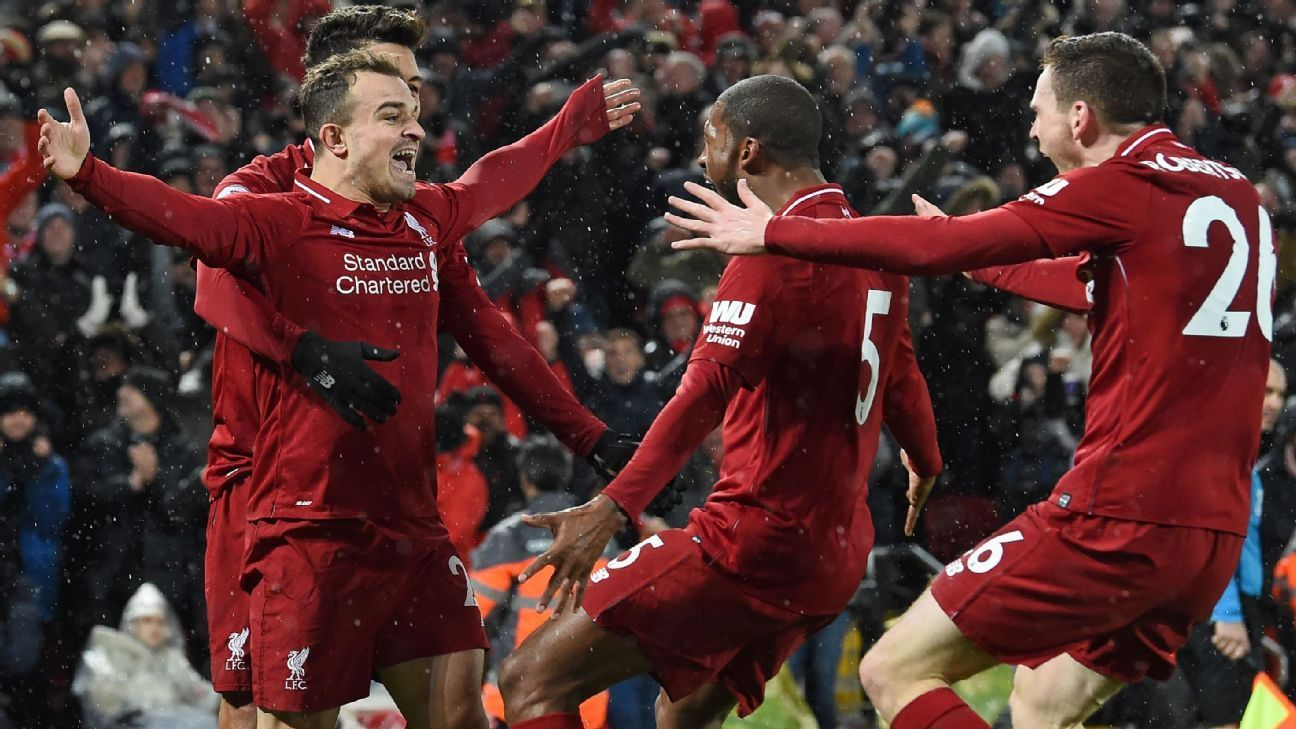 Xherdan Shaqiri Liverpool Overcome Alisson S Mistake Add To Man United S Woe Espn Xherdan Shaqiri Liverpool Overcome Alisson S M With Images Liverpool Sports Man United