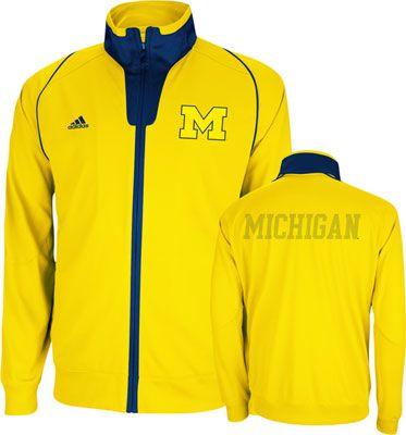 65337216ecf8 Michigan Wolverines Gold adidas On-Court Basketball Warm-Up Jacket ...