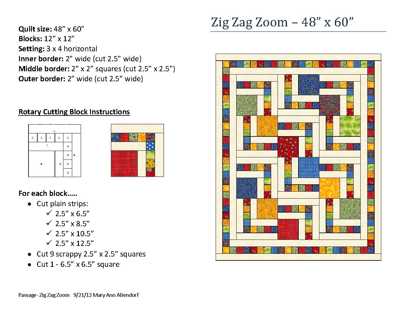 Zig Zag Zoom quilt pattern by Mary Ann Altendorf | quilting