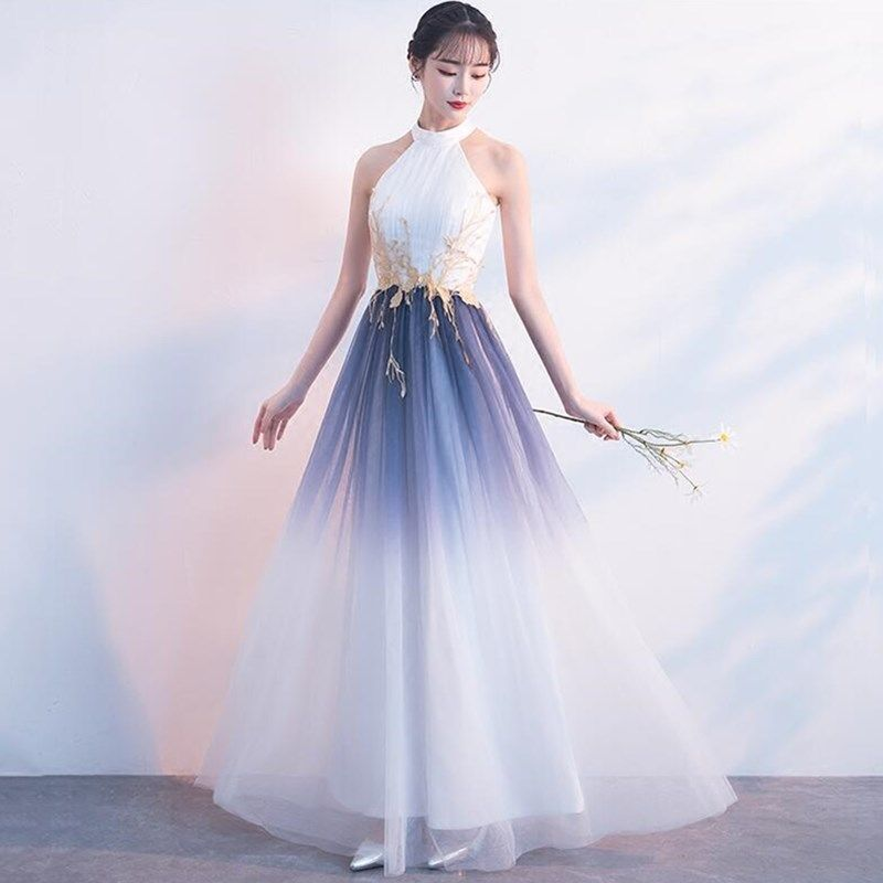 Illusion White Chiffon Prom Dress,Halter Evening Dress