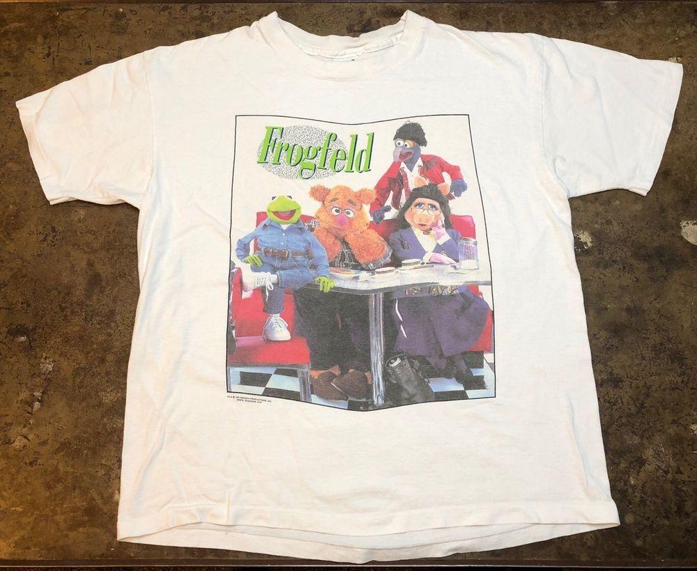 af11b018cb659e Frogfeld Shirt 90s Vintage Muppets Seinfeld Shirt Kermit Rare Jim Henson Tee  XL  Anvil  BasicTee