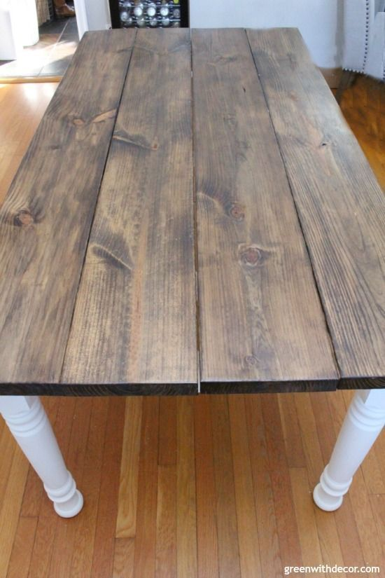 An easy DIY tutorial for how to stain wood even if you've never applied wood stain before! This post walks you through how to stain a wood table, but you could easily follow these steps for any woodworking project. And this farmhouse table turned out beautifully! Click through for the tutorial or save for your next woodworking DIY! #woodstain #woodworking #minwax #diy #diyproject #tablebuild #furniturebuild #farmhousestyle #woodworkingprojects