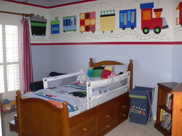Train themed toddler boy bedroom my 2 5 yr old sons room was a boring tan so i decided to liven for Toddler train bedroom