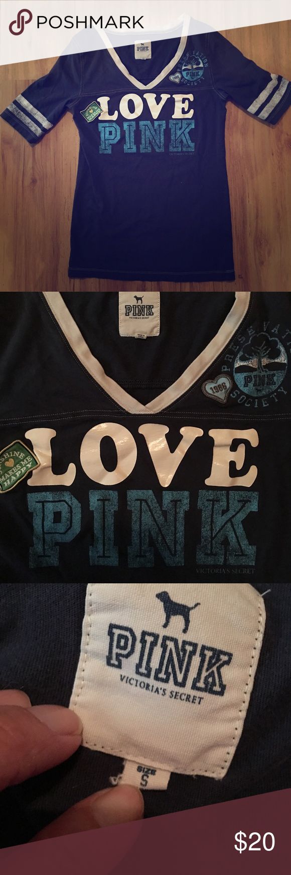 VS PINK  baseball Tee! Like new!  EUC! Got from one of my favorite Poshers, but it's too small for me  I absolutely love it!!  Very unique! Size small, true to size. WILL ONLY TRADE FOR OTHER VS. Thanks TV $25 PINK Victoria's Secret Tops Tees - Short Sleeve