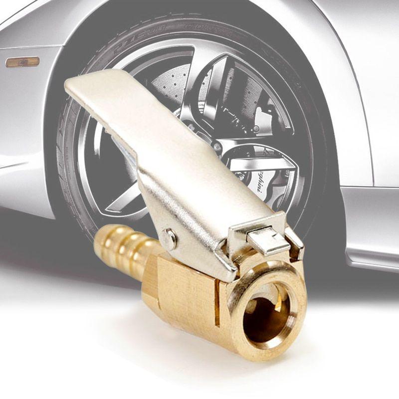 Tyre Brass Clip on Car 8mm Valve Air Chuck Inflator Pump Connector Adapter