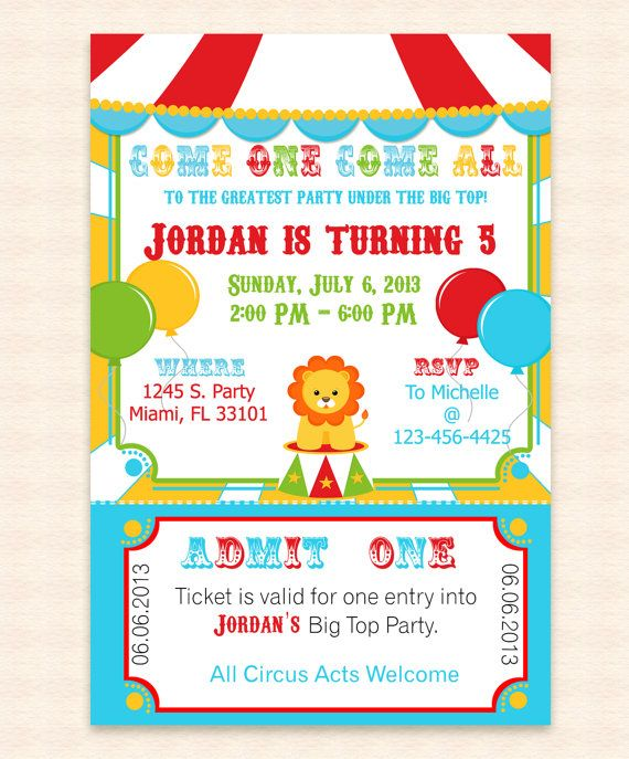 Create Invitation Template: Big Top Circus Printable Invitation Design