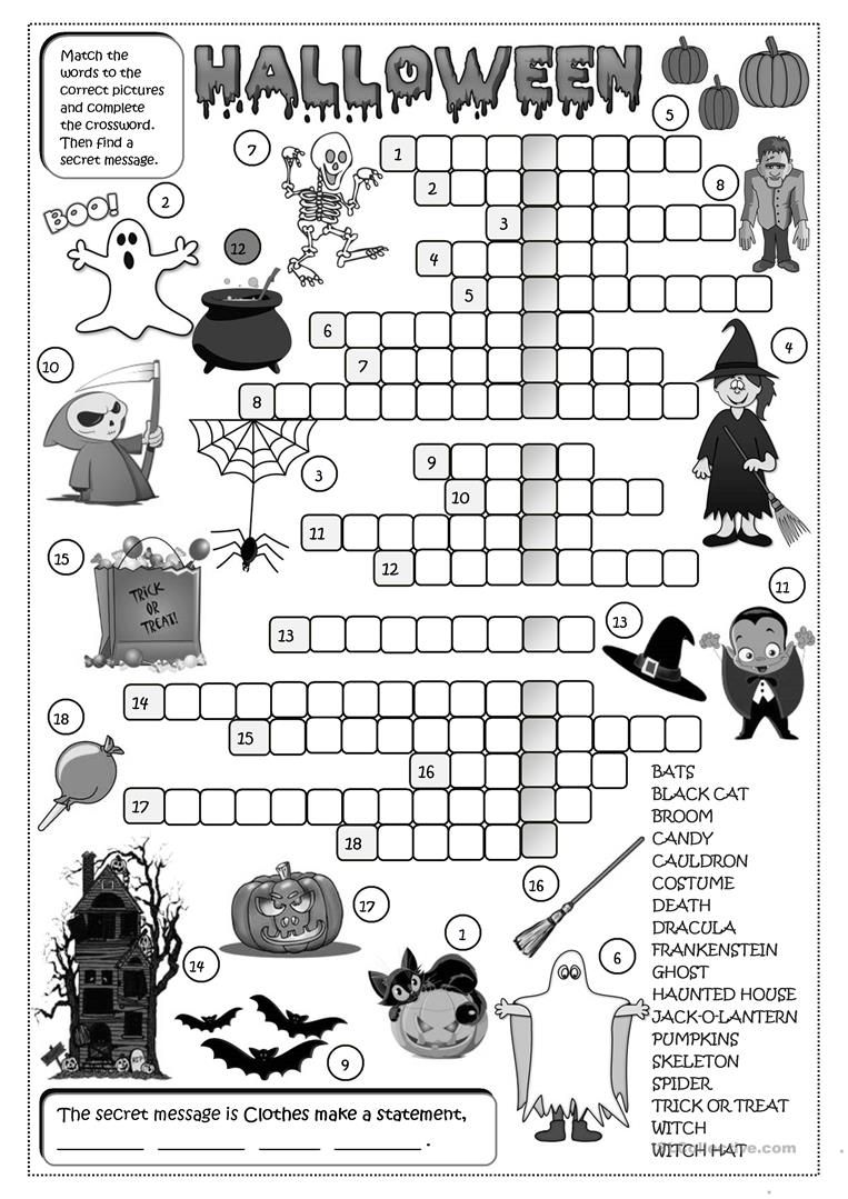 Halloween Crossword With Images Halloween Worksheets