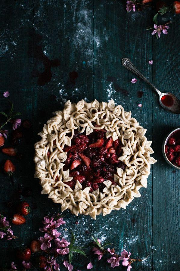 Triple Berry Pie with a Leaf & Vine Crust - The Ki