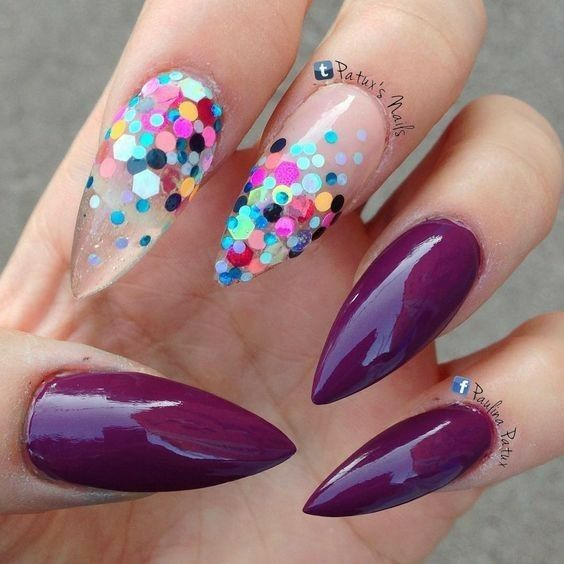 Loving The Dark Colour With The Sequins Nails Pinterest Dark