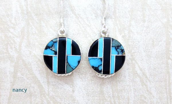 Photo of Turquoise & Jet Inlay Sterling Silver Earrings Native American Jewelry – 1269sn