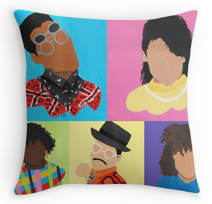 Add some spunk to your living room.-Size 16x16-Selected design printed on both sides-Concealed zipper for aesthetic wonderment-Soft yet hard wearing 100% spun Polyester Poplin fabric-Dry or Spot Clean Only(You Can Also buy just ONE character or all characters on seperate pillows. Email artbykashmir@gmail.com for inquiries)