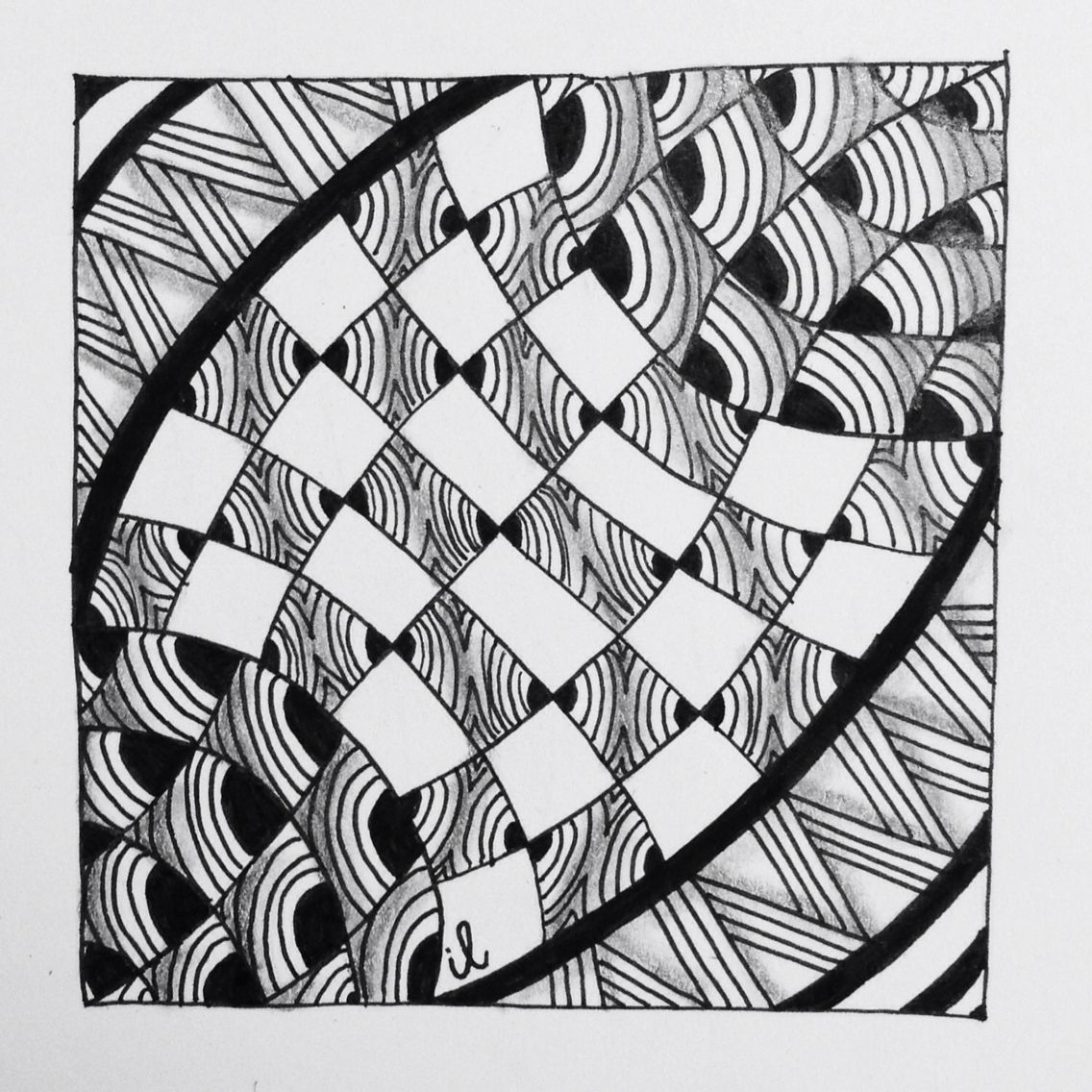 Zentangle Black And White Beelight Square One Www Zentanglezoo