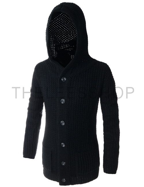 (TNC07-BLACK) Casual Slim Fit Hooded 2 Pocket 6 Button Knitted Long Sleeve Cardigan