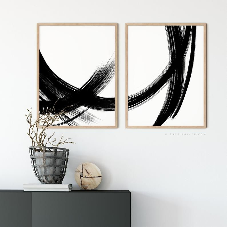 Giclee Print Geometric Wall Art Black And White Brush Strokes Painting ABSTRACT BLACK LINES Mid Century Modern