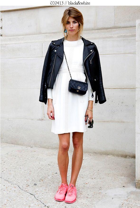 wearemad leather jacket street style white dress nike