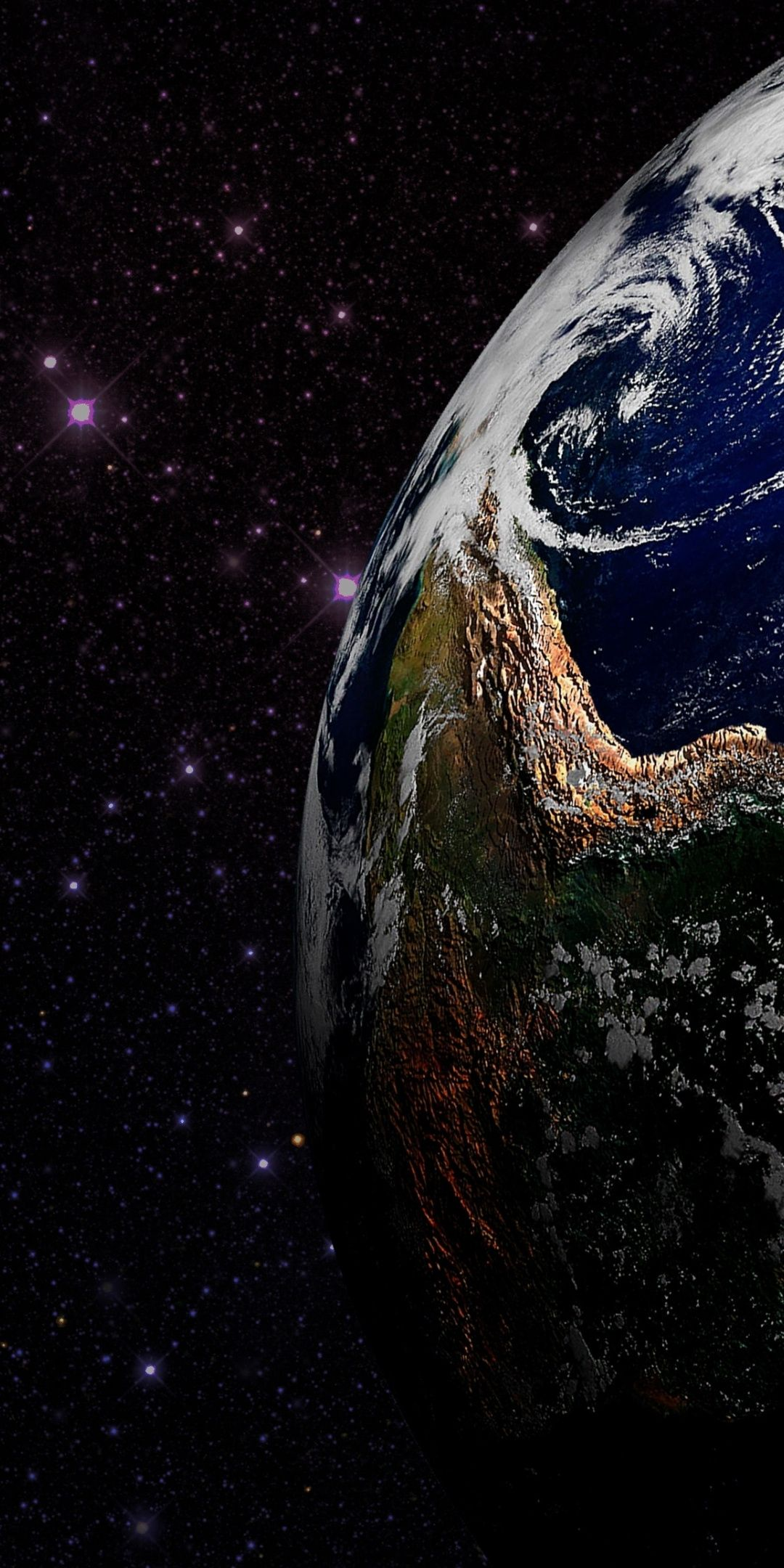 Earth planet, stars, space, 1080x2160 wallpaper