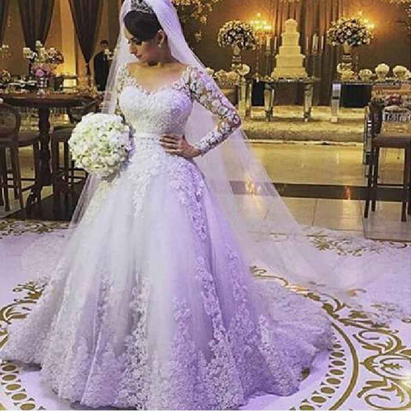Super 2016 New Luxury Scoop Long Sleeve White Lace Tulle Wedding ...