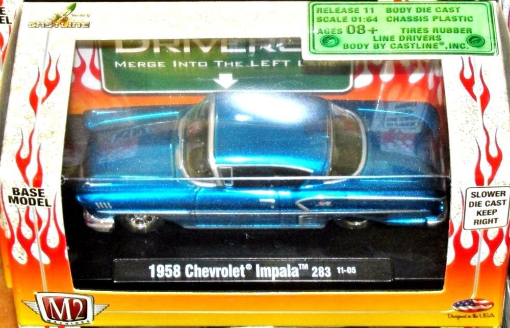 1958 Chevy Impala M2 Machines Drivers 101 Series 1 64 Scale Release 11 Blue 1958 Chevy Impala Chevy Impala Impala
