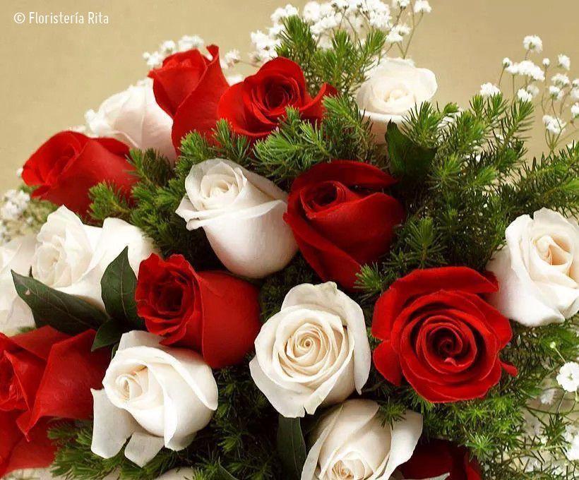 Ramo De Rosas Blancas Y Rojas Roses Rosas Pinterest Flowers