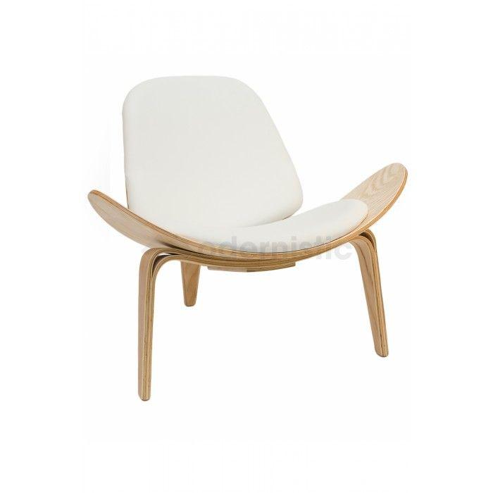 shell chair replica desk yoga ball hans wegner natural frame white