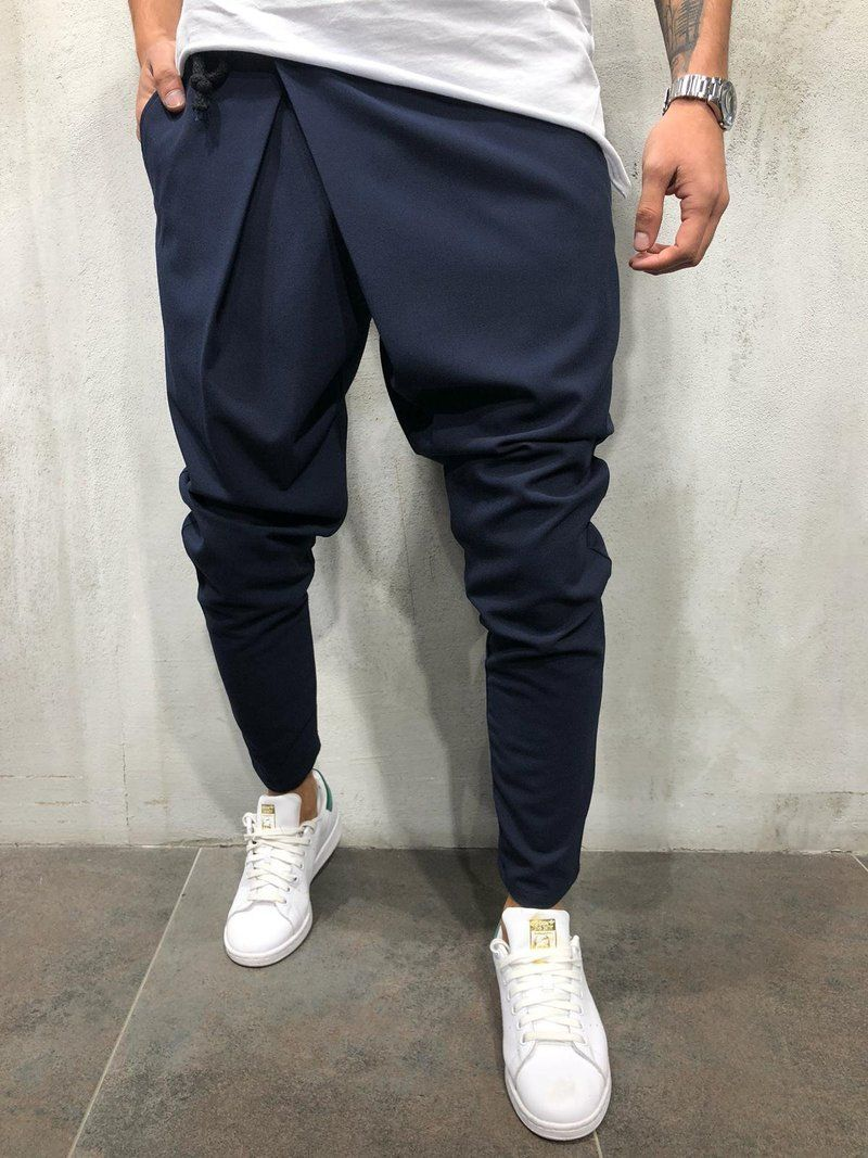 Hajotrawa Mens Fall Jogger Elastic Waist Multiple Pockets Harem Ankle Pants
