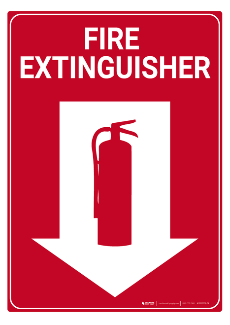 Fire Extinguisher Arrow Down Rack Mounted Sign In 2020 Fire Extinguisher Extinguisher Wall Signs