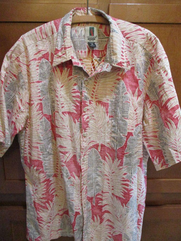 Tori Richard Hawaiian Shirt 2XL Reverse Print SS USA Palm Red Pink Brown Tan #ToriRichard #Hawaiian