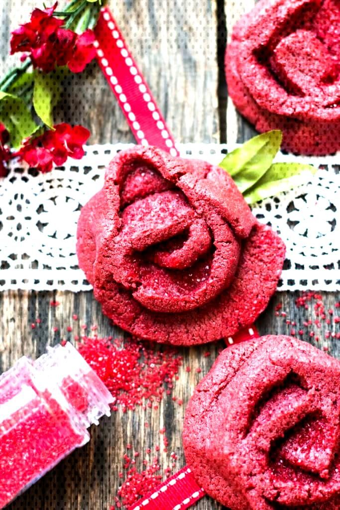 day recipes A red velvet cookie recipe that looks like a rose and are a great Valentine's Day cooki