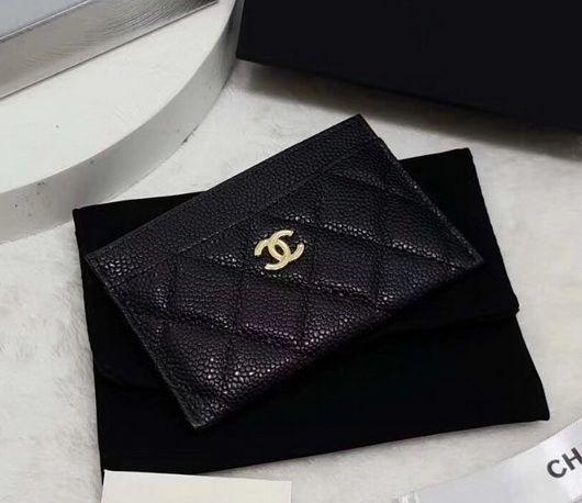c4696d5055bc96 Chanel card holder original leather black gold | ← style • designer ...