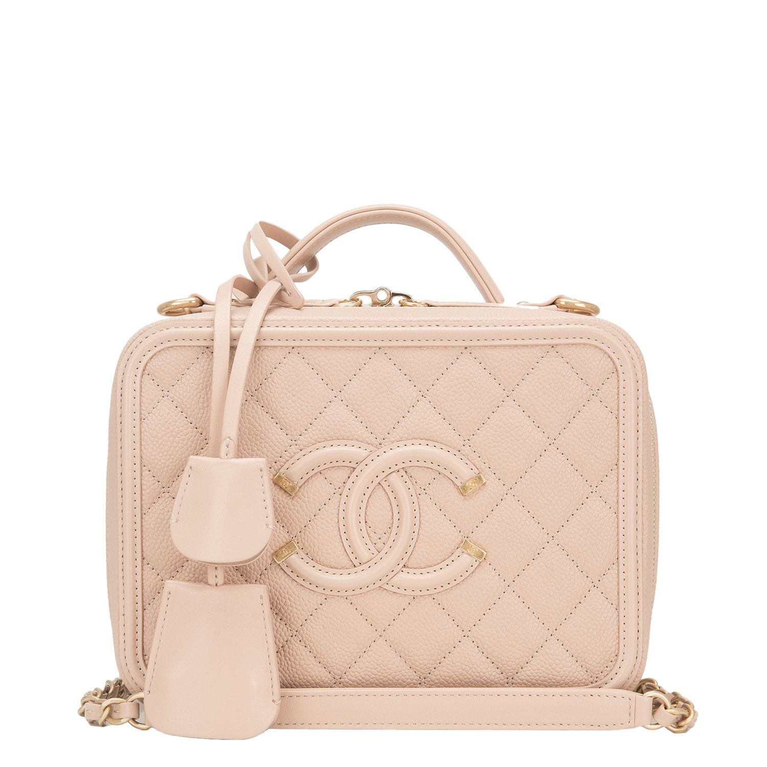 0f4bfe6eca101e Chanel Light Beige Caviar Small Filigree Vanity Case #Bag | Handbags ...