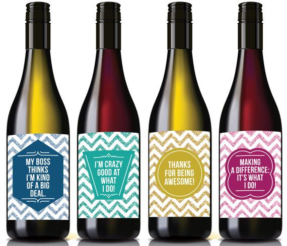 4 Appreciation Wine Labels, Teacher/Employee Appreciation
