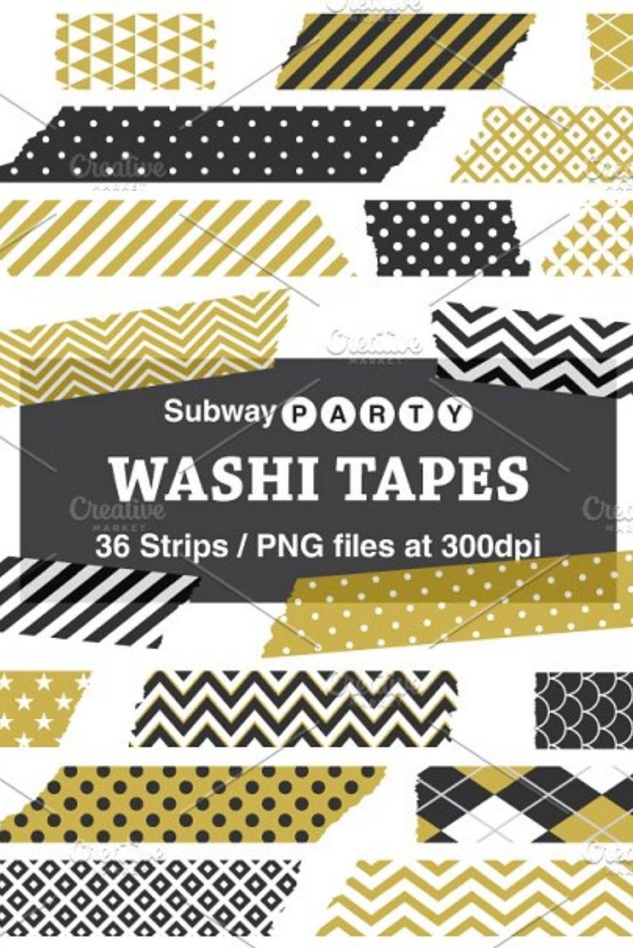 Gold Black Washi Tape Strips Washi Tape Card Making Digital Paper
