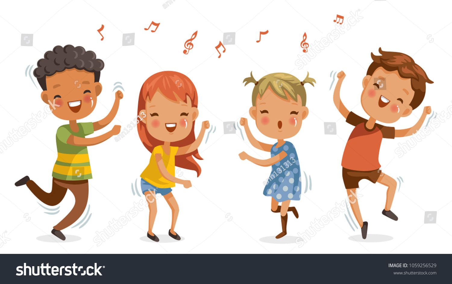 Children Dancing Boys And Girls Dancing Together Happily Jumping Shake The Hips Move The Body Cute Cartoon Enjoy The Rhyt Kids Dance Nurse Art Girl Dancing