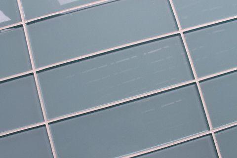 Jasper Blue Gray 4x12 Glass Subway Tiles 4x12 Blue