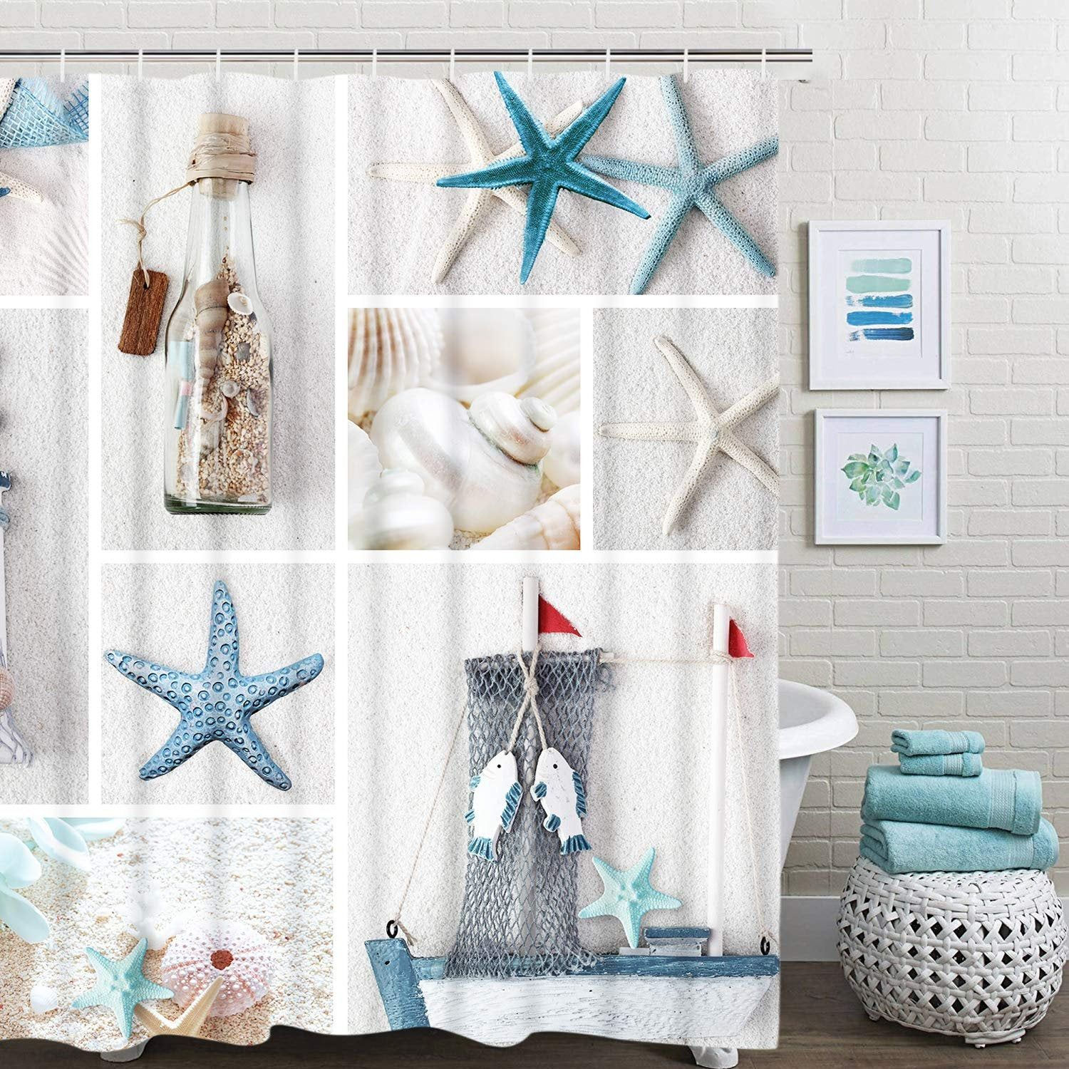 Nautical Shower Curtain Marine Sail Boat Beach Starfish Shell Sea