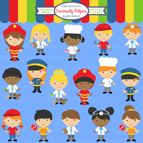 Community Helpers Clipart 16 graphics for educational
