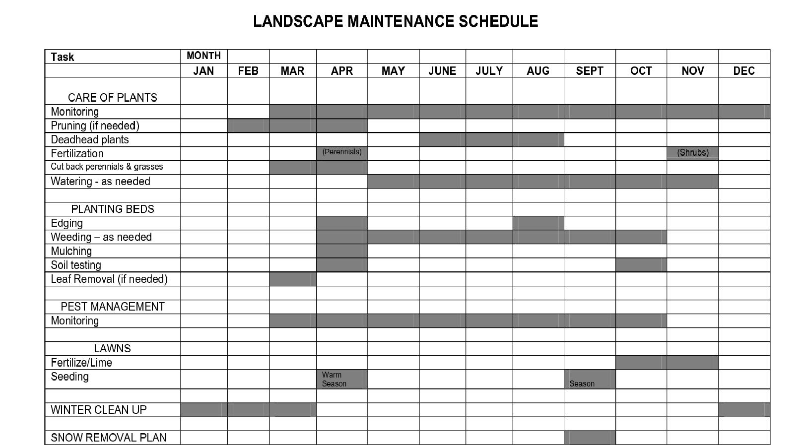 Garden Maintenance Plan Template Of Landscape Maintenance