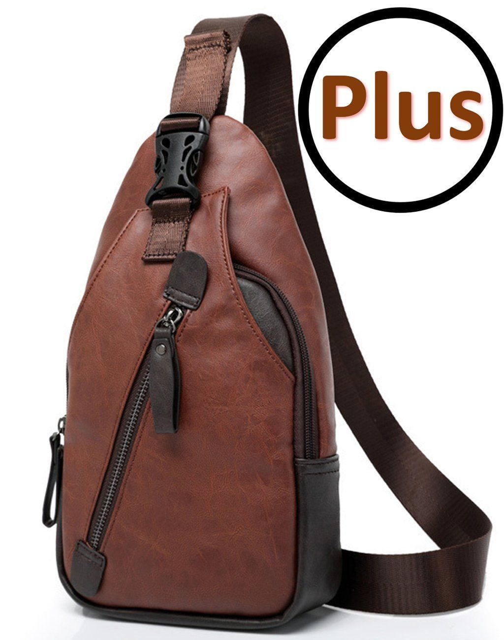 588a5ccd41bb Amazon.com   FREEMASTER Sling Pack Chest Bag Men s Shoulder Backpack PU Bag  Outdoor Cross Body Bags Retro Bag Walking Hiking Camping Gym Cycling  Daypack ...