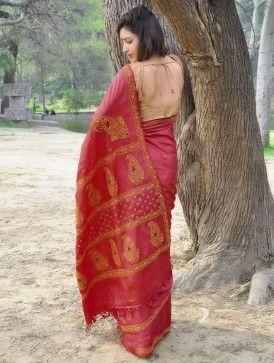 Red Tussar Saree