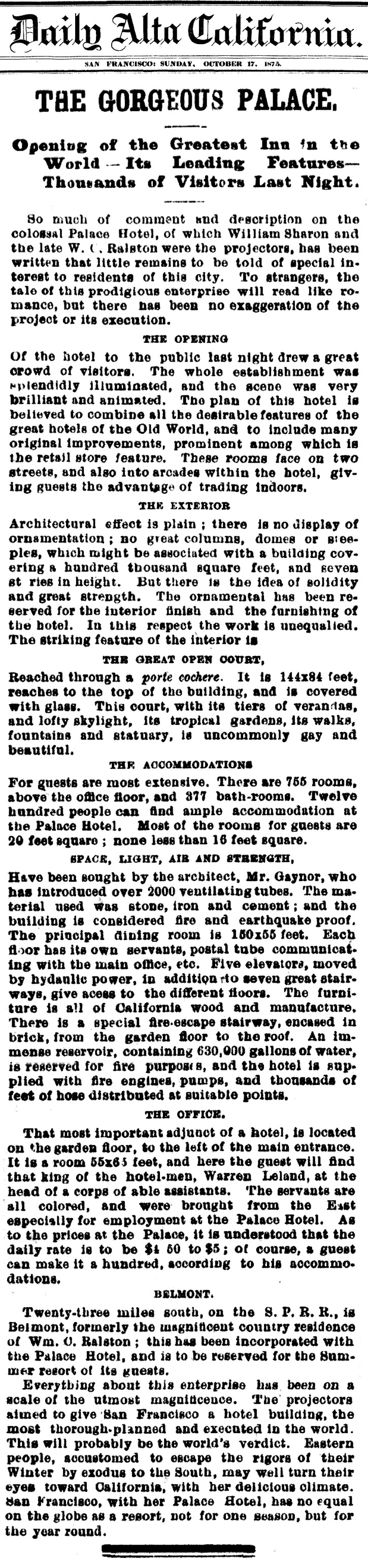 The Daily Alta California's front page story reporting the opening of the Palace Hotel in San Francisco (1875)