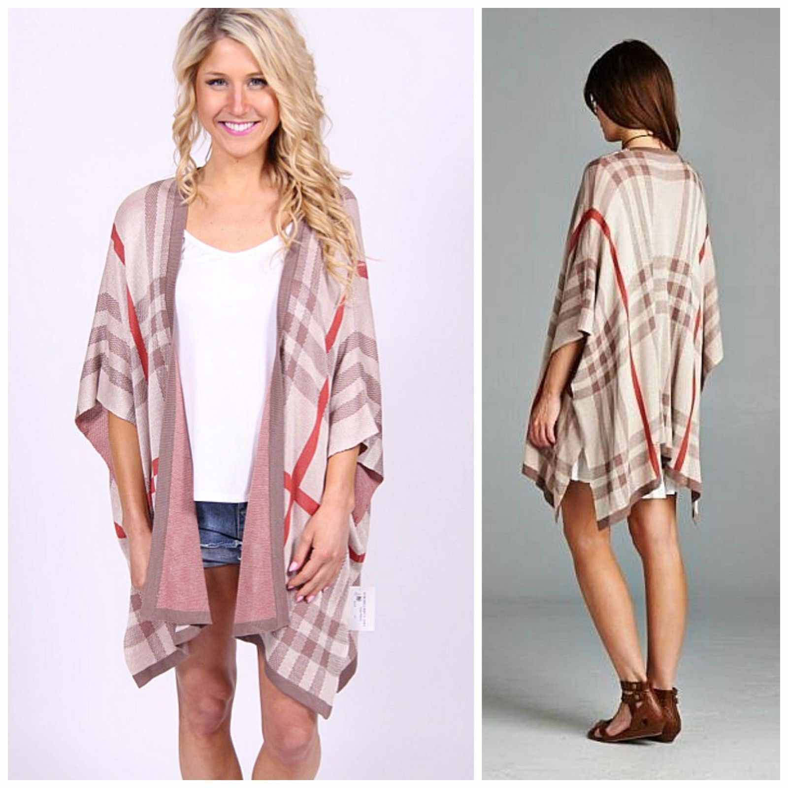 British designer inspired plaid check tan ladies kimono cardigan ...
