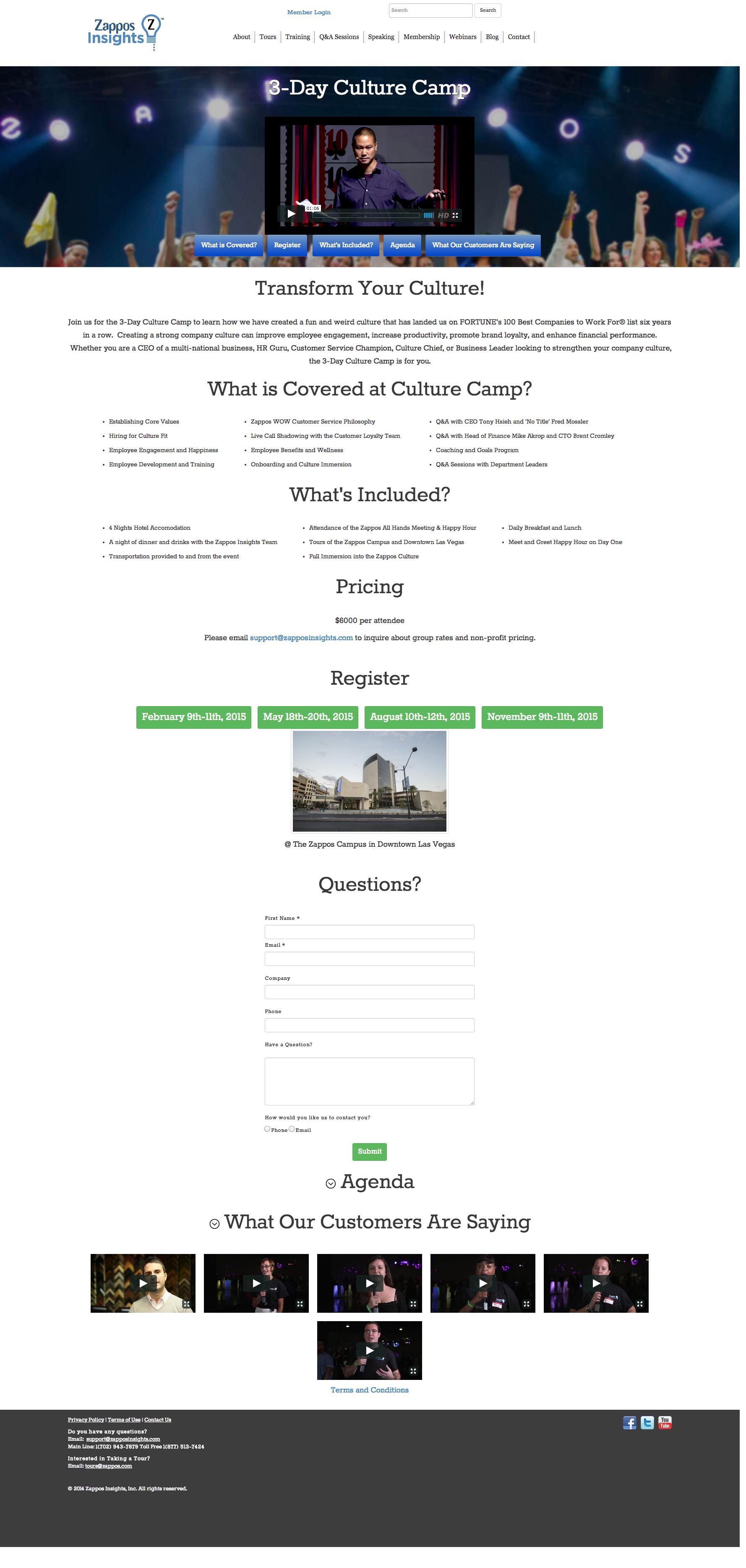 Zappo Culture Camp website