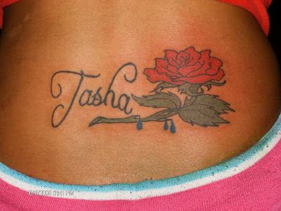 Beautiful Red Rose Tattoo And Name Tattoo On Lower Back Rose Tattoos For Women Rose Tattoos For Men Rose Tattoos